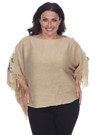White Mark Plus Size Eagle Wings Poncho