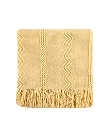 "Home Woven Raised Zigzag, Chain Patterns and Tasseled End Throw, 50"" X 60"""