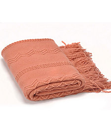 """Battilo Home Woven Raised Zigzag, Chain Patterns and Tasseled End Throw, 50"""" X 60"""""""