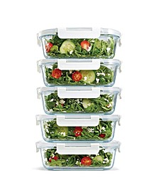 Set of 5 Glass Containers, 35.17 Oz