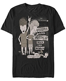 Beavis and Butthead MTV Men's Rock The World Live From The Couch Logo Short Sleeve T-Shirt