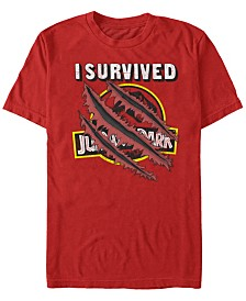 Jurassic Park Men's I Survived Scratch Short Sleeve T-Shirt