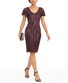 Adrianna Papell Embellished Flutter-Sleeve Sheath Dress