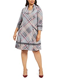 Plus Size Plaid Cowlneck Sweater Dress