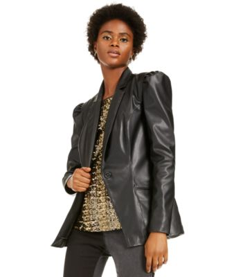 INC Faux-Leather Blazer, Created For Macy's