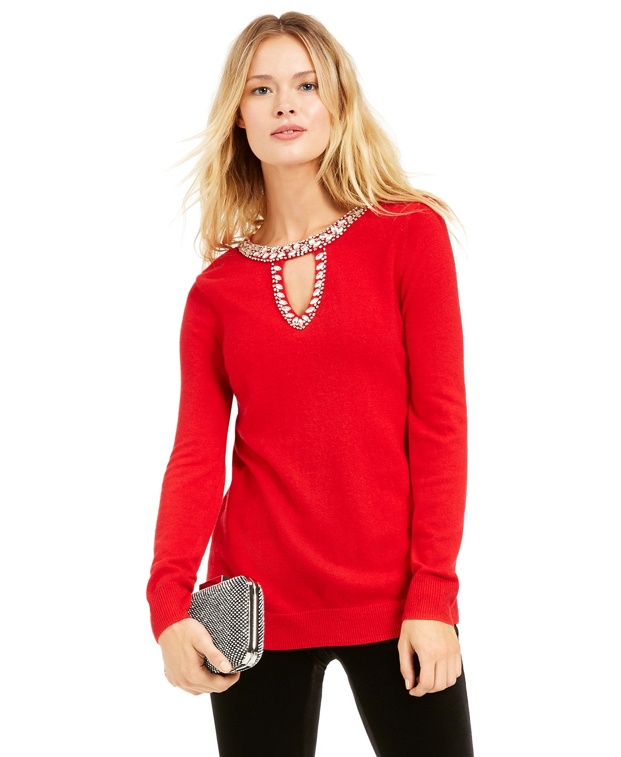 NC International Concepts INC Embellished Keyhole Sweater, Created For Macy's