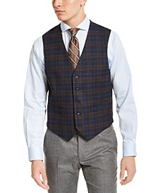 Men's Modern-Fit THFlex Stretch Navy Blue Plaid Vest