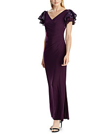 Lauren Ralph Lauren Embellished Flutter-Sleeve Gown, Created for Macy's
