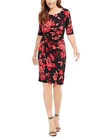 Petite Floral-Print Sarong Dress