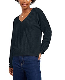 Juniors' Cozy V-Neck Ribbed Top