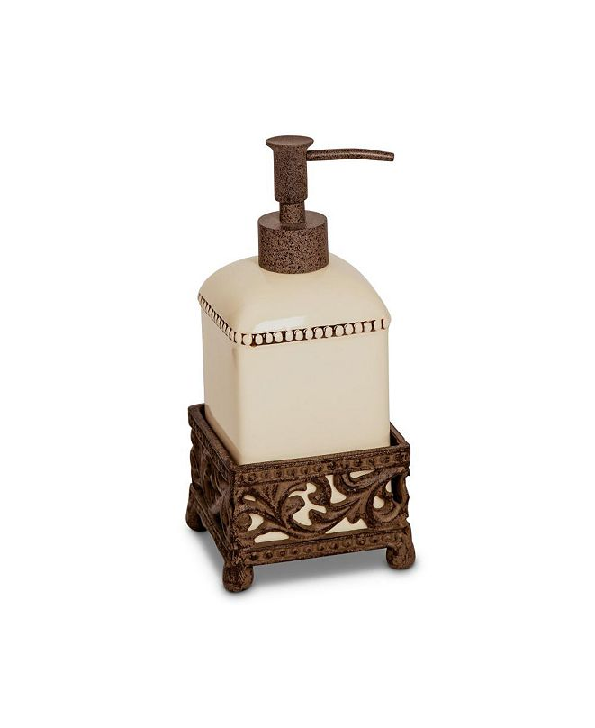 The GG Collection Cream Ceramic Single Soap Dispenser With Acanthus Leaf Metal Base