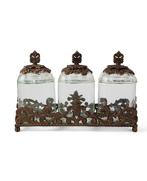 The GG Collection 3-Piece Glass Canister Set With Acanthus Leaf Metal Base