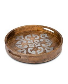 The GG Collection 20-Inch Heritage Collection Wood and Metal Round Tray