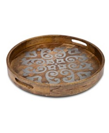 The GG Collection Heritage Collection Wood  and Metal 24-Inch  Round Tray