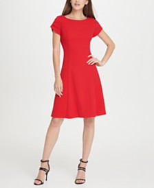 DKNY Tulip Sleeve Fit  Flare Dress