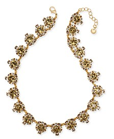 "Gold-Tone Crystal & Stone Collar Necklace, 17"" + 2"" extender, Created For Macy's"