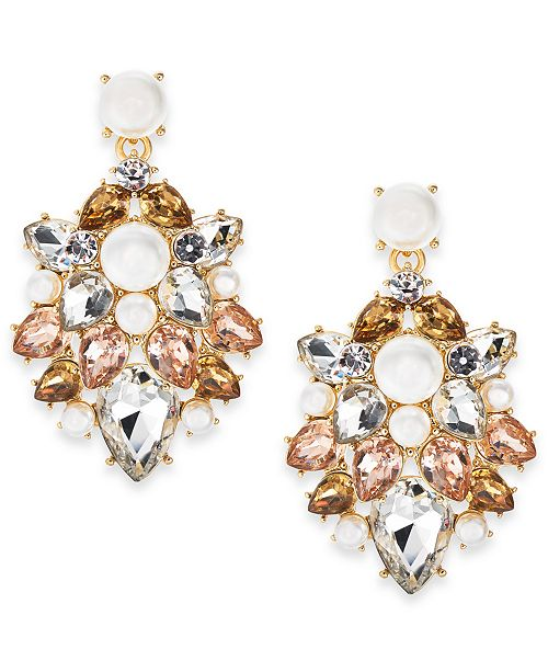 Charter Club Gold-Tone Crystal, Stone & Imitation Pearl Drop Earrings, Created For Macy's