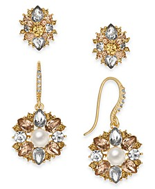 Gold-Tone 2-Pc. Set Crystal & Imitation Pearl Stud & Drop Earrings, Created For Macy's