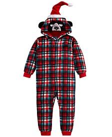 Big Boys 1-Pc. Hooded Plaid Bear Pajamas, Created For Macy's
