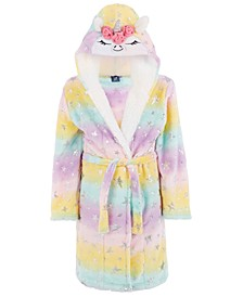 Little & Big Girls Unicorn Robe With Faux-Sherpa Trim, Created For Macy's