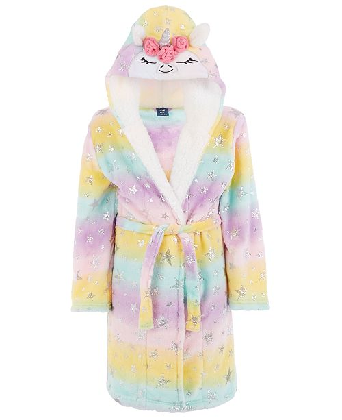 Max & Olivia Little & Big Girls Unicorn Robe With Faux-Sherpa Trim, Created For Macy's
