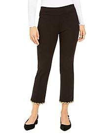Petite Metallic-Hem Ankle Pants, Created For Macy's