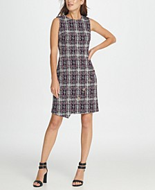 Tweed Logo Button Sheath Dress