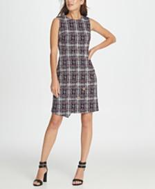 DKNY Tweed Logo Button Sheath Dress