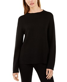 Eileen Fisher Funnel-Neck Long-Sleeve Sweater
