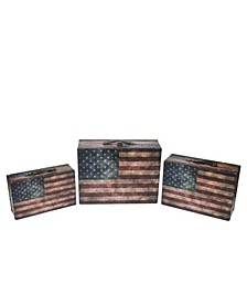 Set of 3 Rustic American Flag Decorative Wooden Storage Boxes