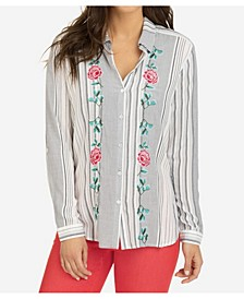 Embroidered Shirt with Contrast Back