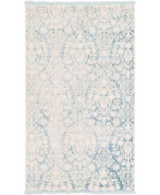 Norston Nor5 Light Blue 6' x 6' Round Area Rug