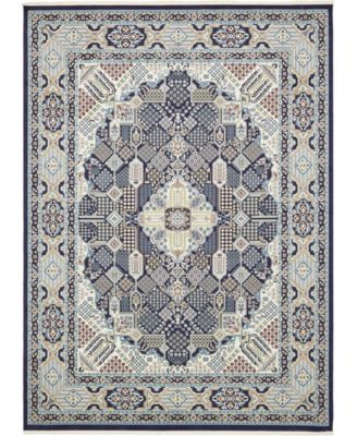 Zara Zar4 Navy Blue 5' x 8' Area Rug