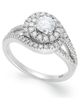 Diamond Swirl Engagement Ring in 14k White Gold 1 ct tw