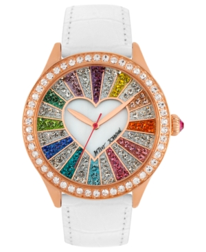 Betsey Johnson Watch, Women's White Leather Strap 42mm BJ00131-15