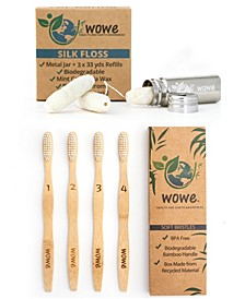Lifestyle Bamboo Toothbrushes and Silk Floss Set