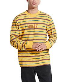 Men's Long-Sleeve Striped Logo T-Shirt