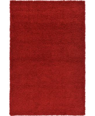 Exact Shag Exs1 Cherry Red 6' x 6' Round Area Rug