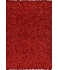 Exact Shag Exs1 Cherry Red Area Rug Collection