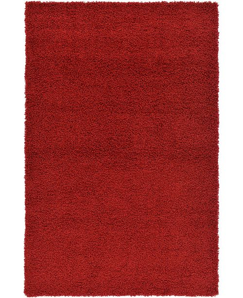 Bridgeport Home Exact Shag Exs1 Cherry Red Area Rug Collection