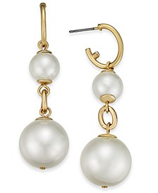Gold-Tone Pavé Hoop & Imitation Pearl Double Drop Earrings, Created For Macy's
