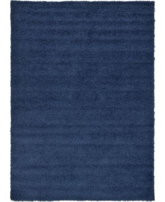 Exact Shag Exs1 Navy Blue 7' x 10' Area Rug