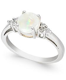 Opal (3/4 ct. t.w.) & Diamond (1/10 ct. t.w.) Ring in 14k White Gold