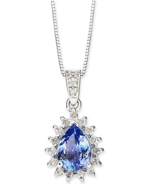 "Macy's Tanzanite (1-1/10 ct. t.w.) & Diamond (1/4 ct. t.w.) Teardrop Halo 18"" Pendant Necklace in 14k White Gold"