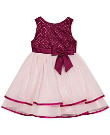 Rare Editions Baby Girls Glitter-Bodice Dress