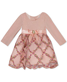 Rare Editions Baby Girls Glitter-Knit & Embroidered-Mesh Dress