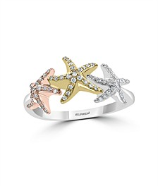 EFFY Diamond (1/4 ct. t.w.) Seastar Ring in 14k Multi Gold