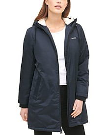 Women's Long Coaches Jacket with Soft Sherpa Lining