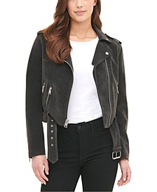 Women's Belted Faux Suede Moto Jacket
