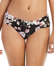 Cherry Blossom Floral Printed Ruched-Side Bikini Bottoms